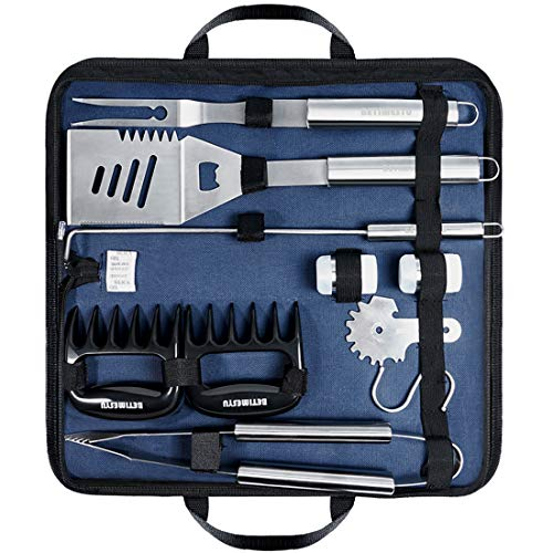 BBQ Tools Set Stainless Steel Barbecue Heavy Duty Grill Accessories Kit with Portable Case for Men Women for Outdoor Camping Backyard Grill Barbecue Tools Set
