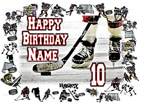 HOCKEY: Personalized edible cake topper birthday party decor decoration premium frosting sheet -