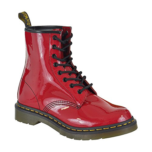 Dr Martens 1460 Red Patent 8 eyelets Womens Leather Shoes Boots (8 Eyelet Leather)