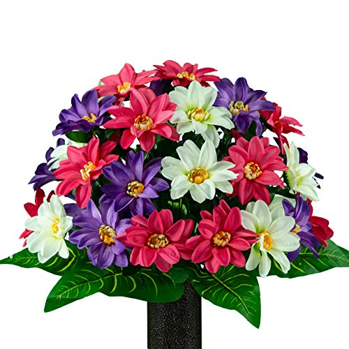 Rubys Silk Flowers Pink White Purple Dahlia, Artificial Bouquet, Featuring The Stay-in-The-Vase Design(c) Flower Holder (MD2076)