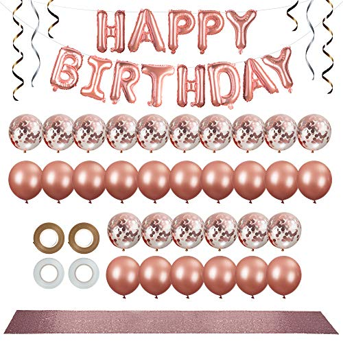 38pc Rose Gold Party Decorations Kit - 12 inch Rose Gold Balloons & Confetti Balloons - Happy Birthday Banner - Rose Gold Table Runner - White & Rose Gold Ribbon - Rose Gold Party Supplies