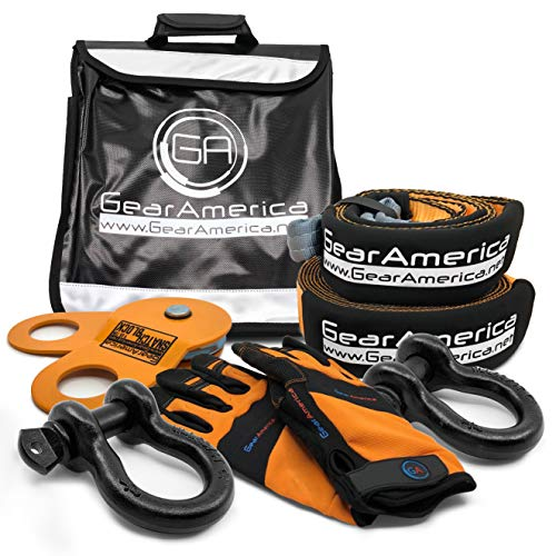 (GearAmerica Off-Road Recovery Kit | Tow Strap + Tree Saver + Heavy Duty Snatch Block Pulley + D-Ring Shackles + Winch Line Dampener Bag + Recovery Gloves | Ultimate 4x4 Winching & Rigging Accessories)