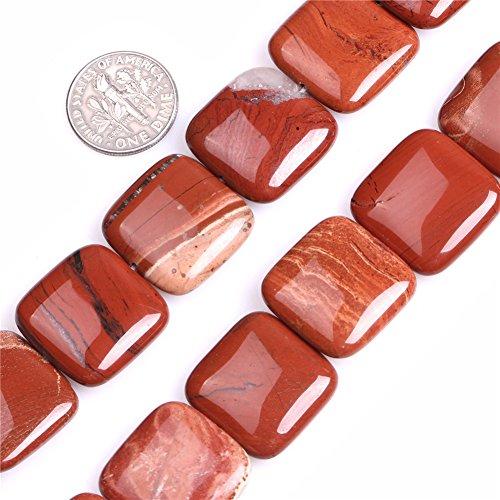 Red Jasper Beads for Jewelry Making Natural Gemstone Semi Precious 20mm Square 15