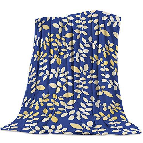 IDOWMAT Luxury Lightweight Flannel Fleece Bed Blankets Super Soft Warm Cozy Plush Microfiber All-Season Sofa Couch Throw Blanket - Queen 50x80 Inch Yellow Burst of Vines Leaves on Dark Blue