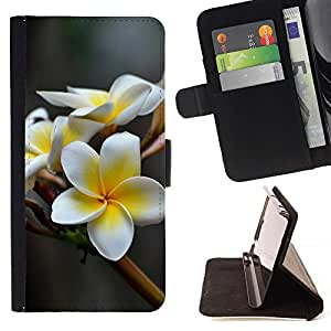 For HTC DESIRE 816 WHITE FLOWER Beautiful Print Wallet Leather Case Cover With Credit Card Slots And Stand Function
