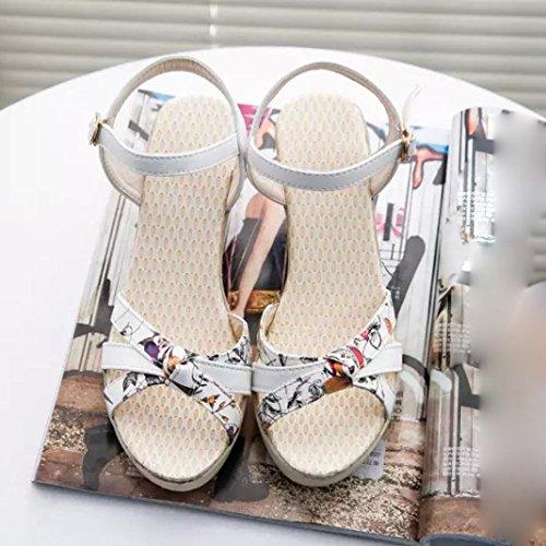 Ouneed® Flip Flops Damen Erwachsene Zehentrenner , Summer Wedges Womens Sandals Flip Flops Ppen Toe High-Heeled Women Shoes Weiß