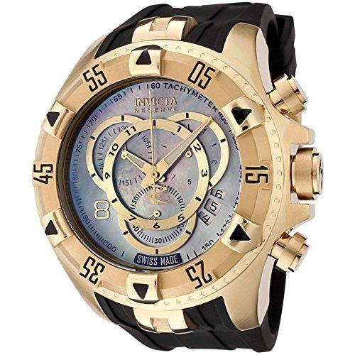 Invicta Men's 6975 Reserve Collection Excursion Touring Chronograph MOP Dial Black Polyurethane Watch