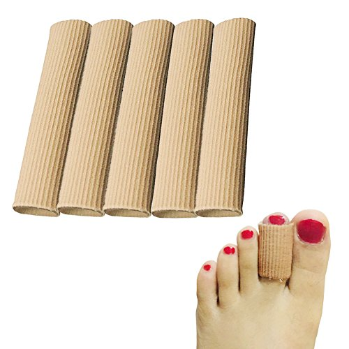 Cuttable Toe Tubes Sleeves, 5 Pack, Made of Elastic Fabric Lined with Silicone Gel. Toe Sleeve Protectors Relief Toe Pressure Pain, Corn and Calluses Remover (for Medium Toe, 10cm (Silicon Sleeve)