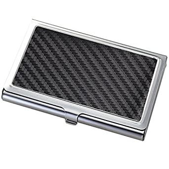 Black White CARBON FIBER Stainless Steel Credit Business Card Case