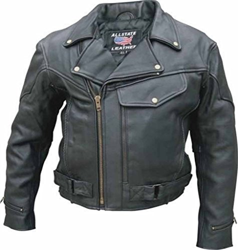- Allstate Leather Men's Drum Dyed Naked Cowhide Vented Motorcycle Jacket with Braid Trim 60 Black