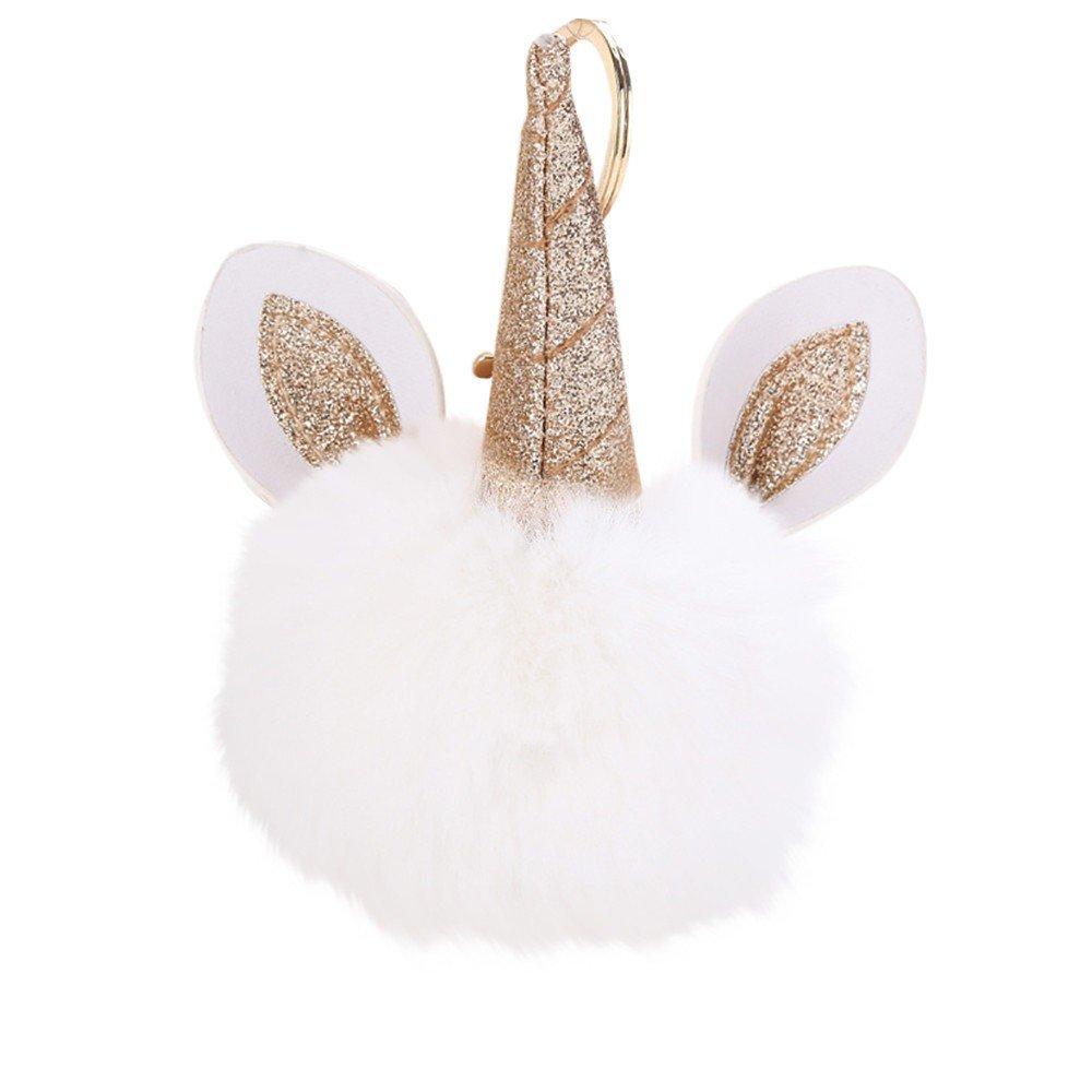 Porte Cl/é Licorne Pompon Fourrure Peluche Femme Fille Pententifs Accessoires Cadeau dAnniversaire Rameng
