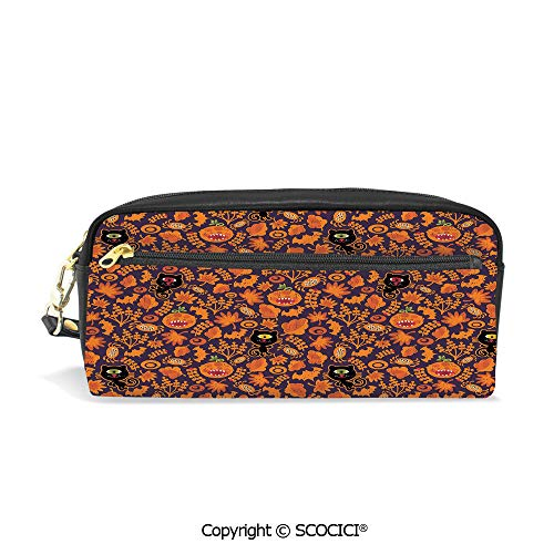 Fasion Pencil Case Big Capacity Pencil Bag Makeup Pen Pouch Halloween Themed Elements on a Purple Background Scary Mosters Decorative Durable Students Stationery Pen Holder for School]()