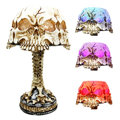 Day Of The Dead Ossuary Triad Skull Faces Mini LED Color Changing Table Lamp Figurine