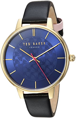Ted Baker Women's 'KATE' Quartz Stainless Steel and Leather Casual Watch, Color:Black (Model: TEC0025016)