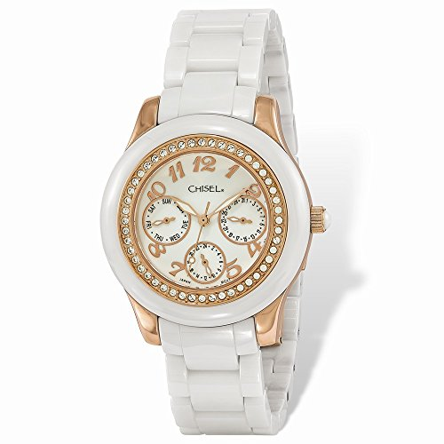 Mia Diamonds Ladies Chisel Rose IP-plated White Dial Ceramic Watch