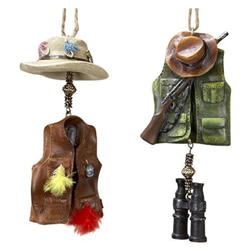 Kurt Adler Hunting & Fishing Vest Ornaments, Set OF 2