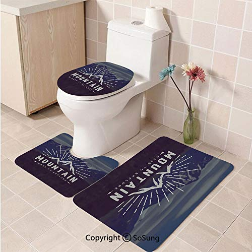 3pcs/Set Adventure Style Soft Comfort Flannel Toilet Mat,Dare to Explore Quote Mountain Landscape Journey Adventure Themed Motivational Image Decorative,Plush Bathroom Decor Mat with Non Slip Backing -