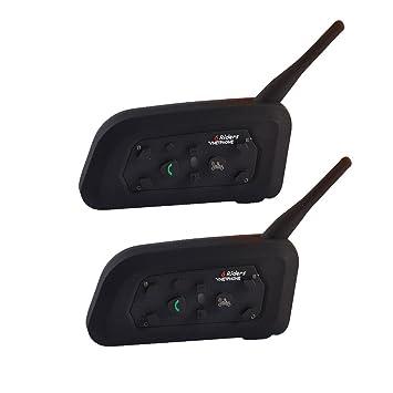 KOBWA 2 X Intercomunicador Bluetooth 1200M Interfono Auriculares para Moto Casco Piloto,Intercomunicación Inalámbrica para