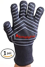 SimplyFire Heat Resistant Cooking Gloves | Baking, Oven & Barbecue Gloves | Fire Gloves For Fireplace & Fire Pit | Use As Grilling Gloves & BBQ Gloves | Smoker, Grill & Kitchen Accessories (2 Gloves)