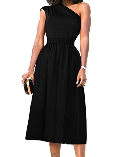 3850e02d393a7 Nashion Womens One Shoulder Cocktail Party Prom Midi Vintage Dress Black, S  at Amazon Women's Clothing store: