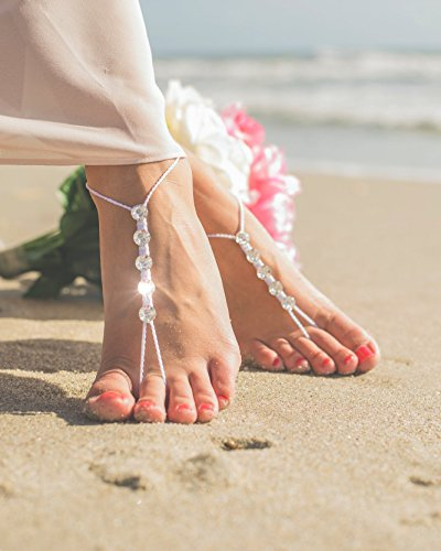 Shoes With Swarovski Crystals - Barefoot Sandals, Bridal party, Bridesmaid gifts, White with Swarovski Crystals, Beach wedding Foot Jewelry, Anklet for Women