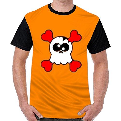 Lovelywardrobe Heart Skull and Cross Bones Mens Short Sleeve Cotton T Shirts (Bone Plug Cross)