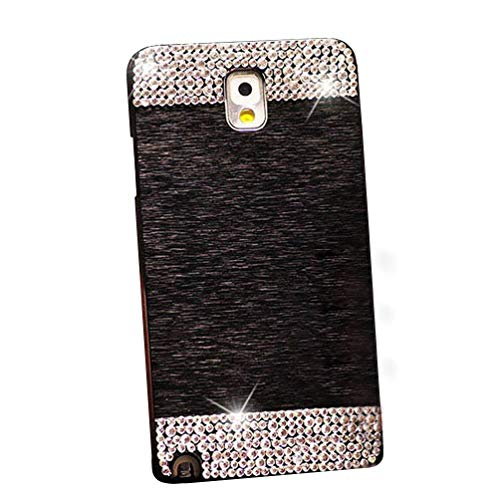 Beauty Luxury Diamond Hybrid Glitter Bling Hard Shiny Sparkling with Crystal Rhinestone Metal Aluminum Back Cover Case for Samsung Galaxy Note 4 N9100 (Black, Galaxy Note 4) ()