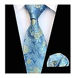 Men's Sky Blue Ties Set Yellow Spring Floral Party Wedding Silk Paisley Neckties