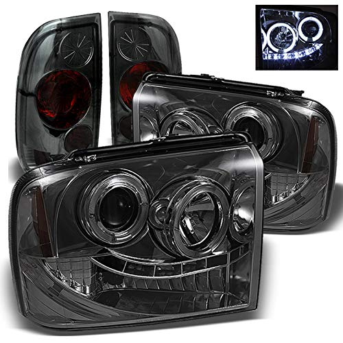 For 2005-2007 Ford F250 F350 Super Duty Smoked Halo LED Projector Headlights + Tail Lights ()