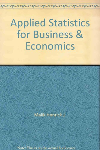 Applied Statistics for Business & Economics