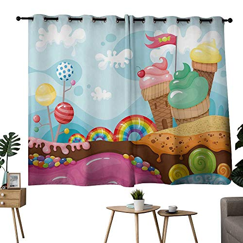 NUOMANAN Blackout Lined Curtains Ice Cream Decor,Dessert Land with Rainbow Candies Lollipop Trees Cupcake Mountains Cartoon,Multicolor,Rod Pocket Drapes Thermal Insulated Panels Home décor 52