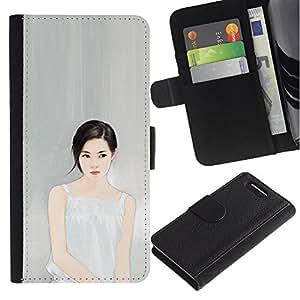 For Sony Xperia Z3 Compact Case , Deep Thinking Portrait Grey Gray Fashion - la tarjeta de Crédito Slots PU Funda de cuero Monedero caso cubierta de piel