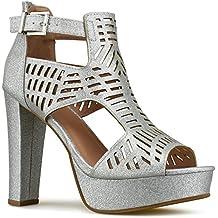 Premier Standard Women's Laser Cut Out Ankle Strap High Heel - Open Toe Sandal Pump - Chunky Wooden Heel Platform Shoe