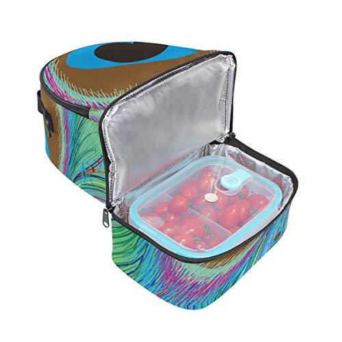 real el diseño plumas térmica ajustable el almuerzo Bolsa de para correa con pavo Alinlo de hombro para vxZqXn