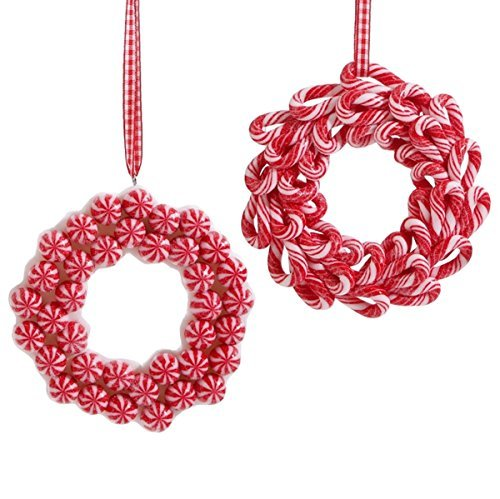 Set of 2 Candy Cane Peppermint Wreath Christmas Ornaments, 4 1/2 (Peppermint Ornaments)