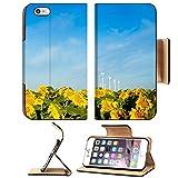 Liili Apple iPhone 6 Plus iPhone 6S Plus Pu Leather Flip Case Wind turbines over a beautiful sunflowers field in Limon Colorado iPhone6 Plus Image ID 21591016