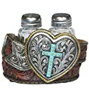 LL Home Heart Belt Buckle and Cross Salt and Pepper Shakers