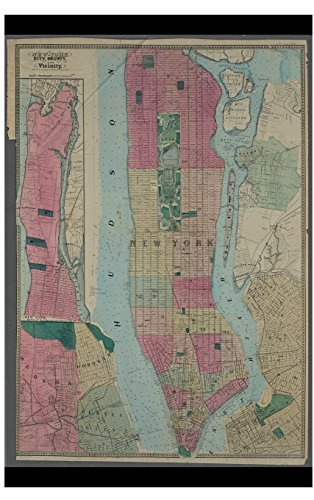 Cool Antique 1864 Map of New York City, County Journal: 100 Page Lined Journal