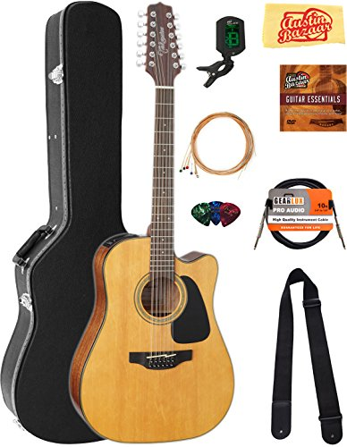Takamine GD30CE12NAT 12-String Dreadnought Cutaway Acoustic-Electric Guitar – Natural Bundle with Hard Case, Cable, Tuner, Strap, Strings, Picks, Austin Bazaar Instructional DVD, and Polishing Cloth