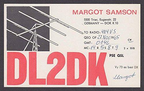 (DL2DK Margot Samson Germany QSL Ham Radio postcard 1965)