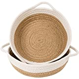 Goodpick 2pack Cotton Rope Basket - Woven Storage Basket - 9.8'' x 8.7'' x 2.8'' Small Rope Baskets for Kids Home Decor Toy Basket Organizer - Desk Basket Containers for Jewellery, Keys - Hemp Rope Bowl
