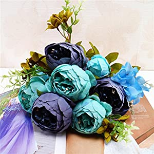 Yezijin 1 Bouquet of 13 Peony Flowers, Vintage Artificial Peony Silk Flowers Bouquet for Home Decoration 34