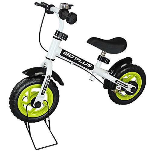 Goplus 10″ Kids Balance Bike No-Pedal Learn To Ride Pre Bike Push Walking Bicycle Adjustable Height & Folding Bike Stand with Bell Ring