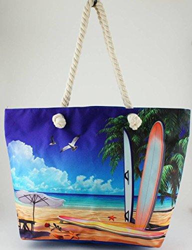 Stampato spiaggia/borsa tote 51cm–�?Surfboards on the beach'