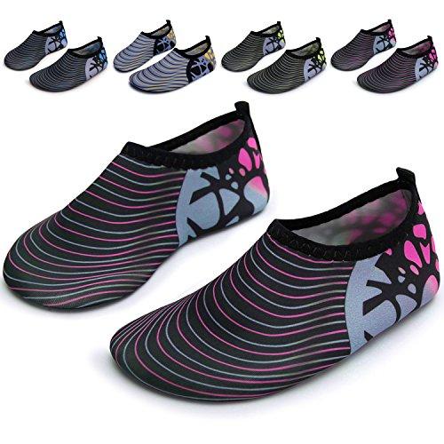 Barerun Kids Quick-Dry Wasserschuhe Leichte Aqua Socken für Beach Pool Surf Yoga Übung Streifen rot