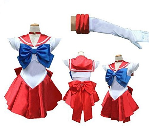 [Girl's Sailor Moon Cosplay Dress Mercury Moon Mars Costume Fancy Dress (one size, red)] (Sailor Moon Adult Womens Costumes)