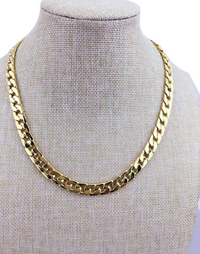 Adecco LLC Gold Chain Necklace, Ultra Luxury Look& Feel Real Solid 14k Gold plated Curb Fake Chain Necklace 10mm