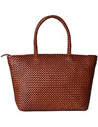Fashion Shoulder Bag Braided Woven Genuine Large Leather Handbag
