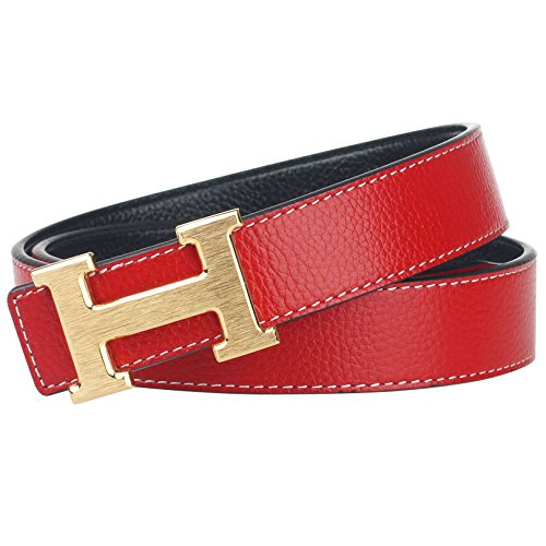 G-FOR Women H Reversible Leather Belt With Removable Buckle 36inch Red -