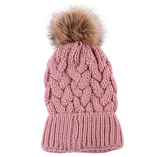 Price comparison product image Mom and Baby Knitting Cap Keep Warm Hat Matching Outfits (Pink -2)